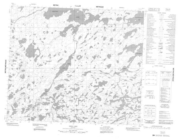 Nikik Lake Topographic Paper Map 053L04 at 1:50,000 scale