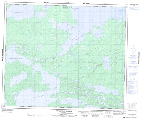 Kanuchuan Rapids Topographic Paper Map 053L07 at 1:50,000 scale