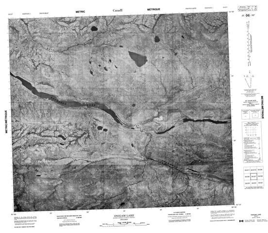 Onigam Lake Topographic Paper Map 053O07 at 1:50,000 scale