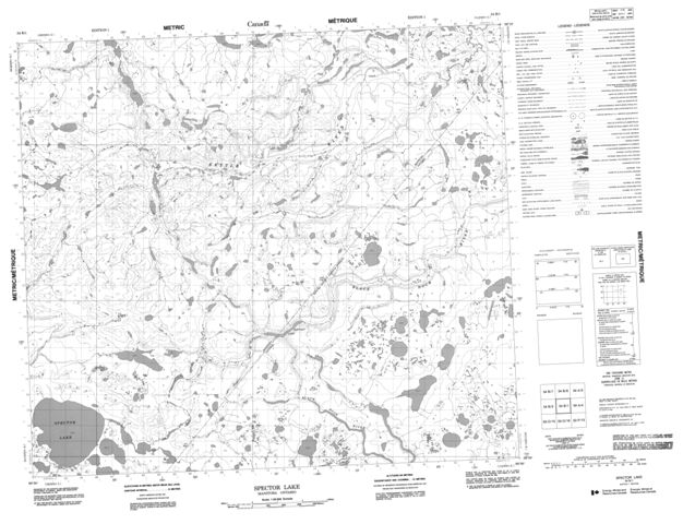 Spector Lake Topographic Paper Map 054B01 at 1:50,000 scale
