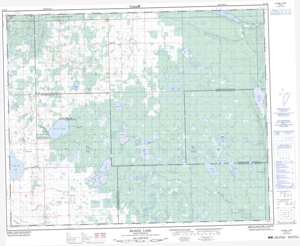 Klogei Lake Topographic Paper Map 063D06 at 1:50,000 scale
