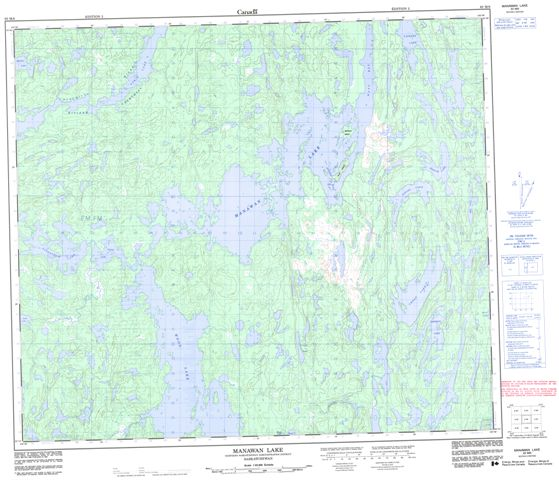 Manawan Lake Topographic Paper Map 063M06 at 1:50,000 scale