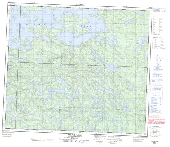 Sisipuk Lake Topographic Paper Map 063N12 at 1:50,000 scale