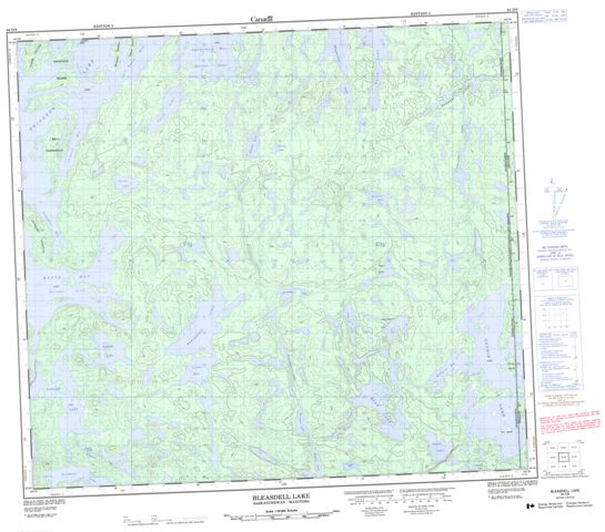 Bleasdell Lake Topographic Paper Map 064D09 at 1:50,000 scale
