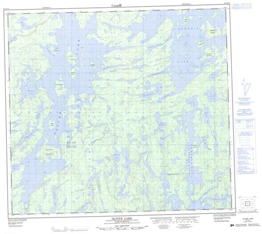 Oliver Lake Topographic Paper Map 064D14 at 1:50,000 scale