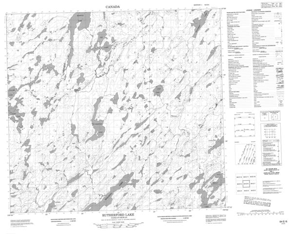Rutherford Lake Topographic Paper Map 064E06 at 1:50,000 scale