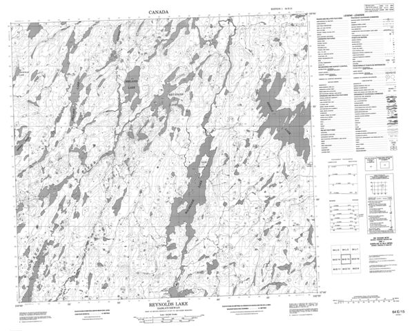 Reynolds Lake Topographic Paper Map 064E15 at 1:50,000 scale