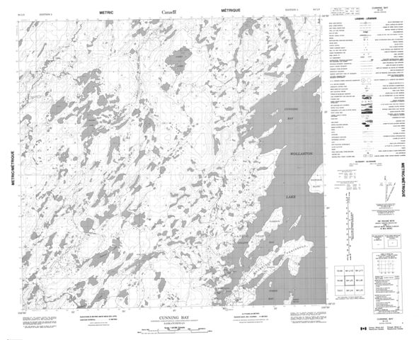 Cunning Bay Topographic Paper Map 064L05 at 1:50,000 scale