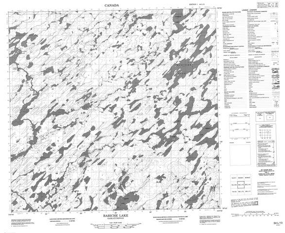 Babiche Lake Topographic Paper Map 064L13 at 1:50,000 scale
