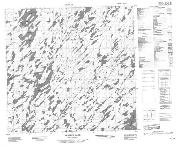 Bentley Lake Topographic Paper Map 064L14 at 1:50,000 scale