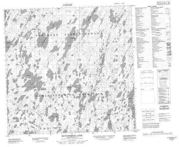 Hutcherson Lake Topographic Paper Map 064M07 at 1:50,000 scale