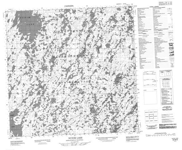 Nunim Lake Topographic Paper Map 064M08 at 1:50,000 scale