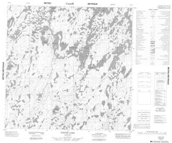 Finner Lake Topographic Paper Map 064N08 at 1:50,000 scale