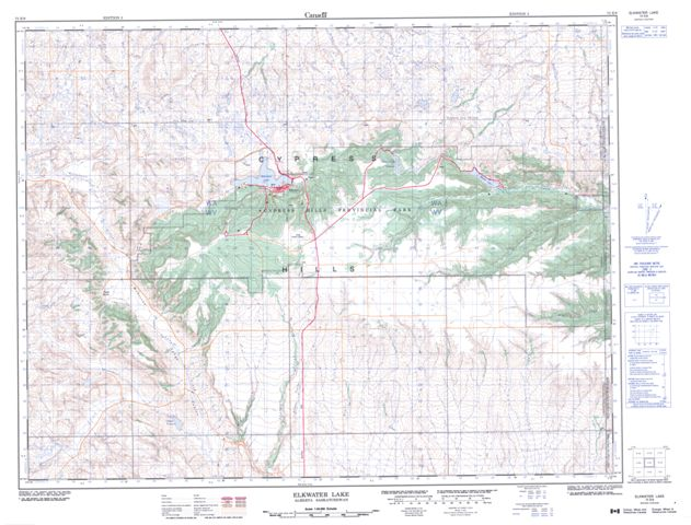 Elkwater Lake Topographic Paper Map 072E09 at 1:50,000 scale