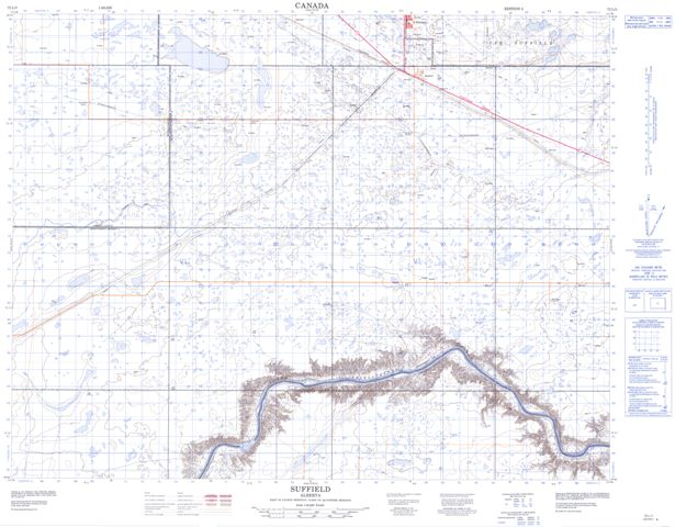 Suffield Topographic Paper Map 072L03 at 1:50,000 scale