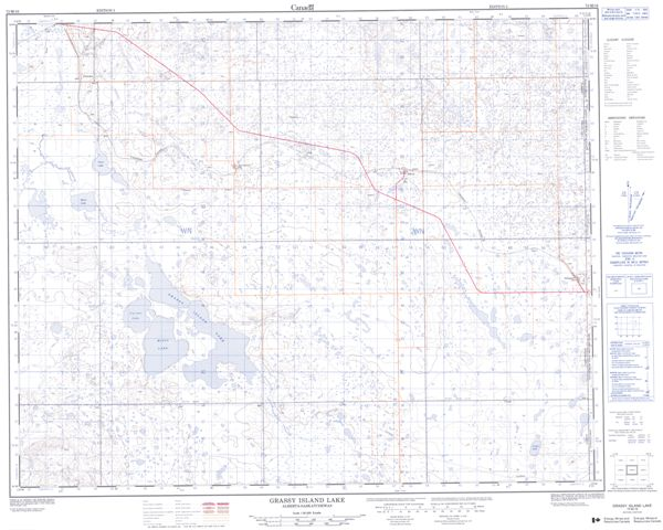 Grassy Island Lake Topographic Paper Map 072M16 at 1:50,000 scale
