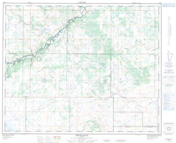 Brownfield Topographic Paper Map 073D06 at 1:50,000 scale