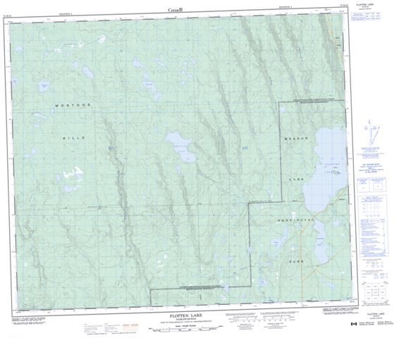 Flotten Lake Topographic Paper Map 073K10 at 1:50,000 scale