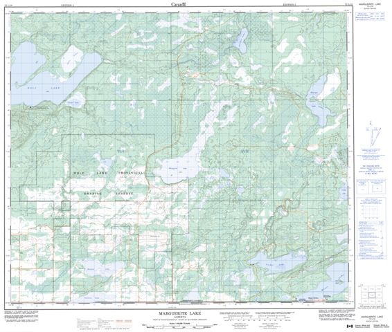 Marguerite Lake Topographic Paper Map 073L10 at 1:50,000 scale