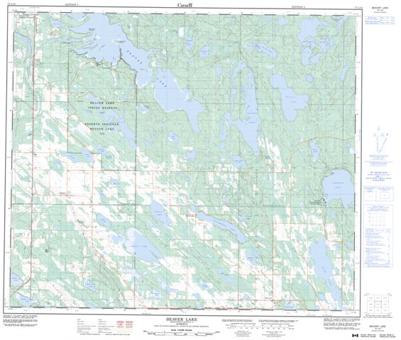 Beaver Lake Topographic Paper Map 073L12 at 1:50,000 scale