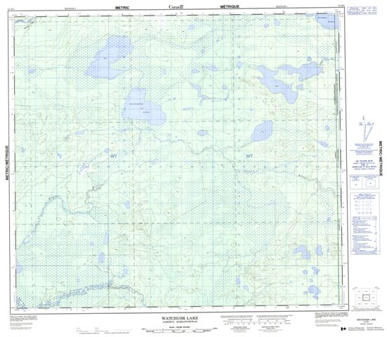 Watchusk Lake Topographic Paper Map 074D01 at 1:50,000 scale