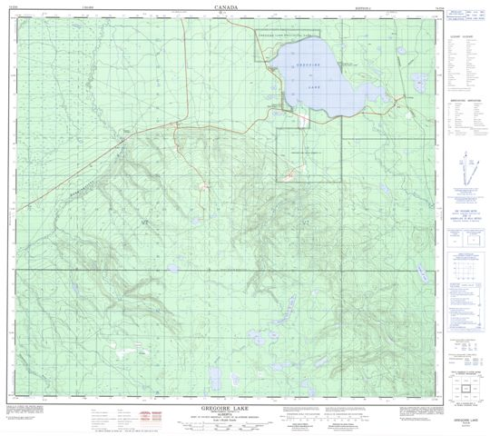 Gregoire Lake Topographic Paper Map 074D06 at 1:50,000 scale