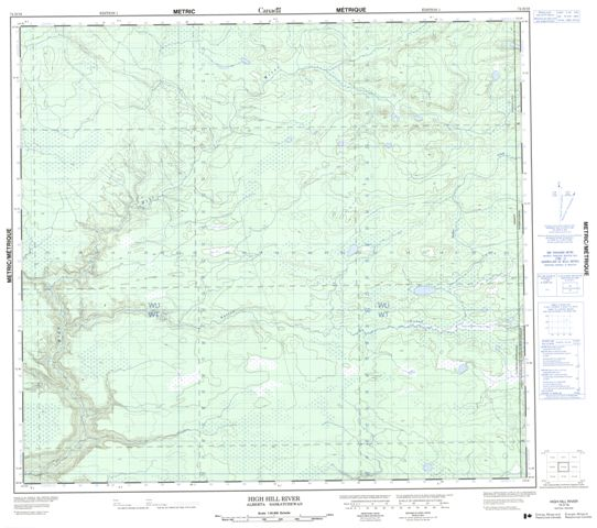 High Hill River Topographic Paper Map 074D16 at 1:50,000 scale