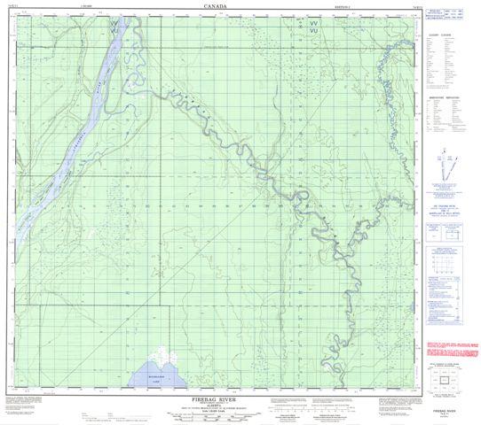 Firebag River Topographic Paper Map 074E11 at 1:50,000 scale