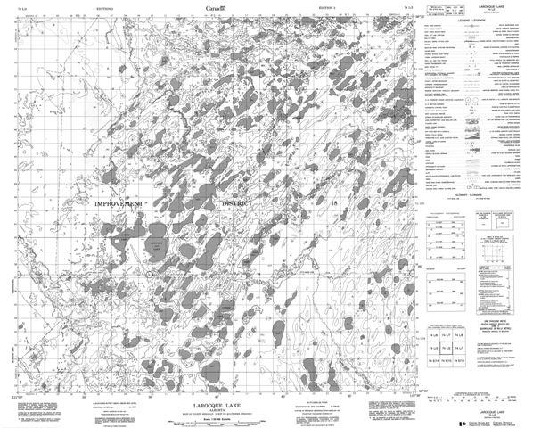 Larocque Lake Topographic Paper Map 074L02 at 1:50,000 scale