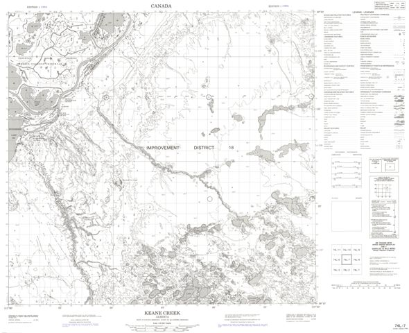 Keane Creek Topographic Paper Map 074L07 at 1:50,000 scale