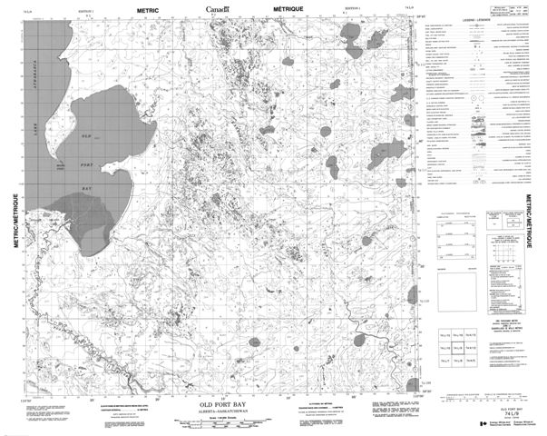 Old Fort Bay Topographic Paper Map 074L09 at 1:50,000 scale
