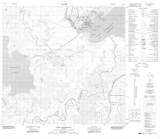 Fort Chipewyan Topographic Paper Map 074L11 at 1:50,000 scale