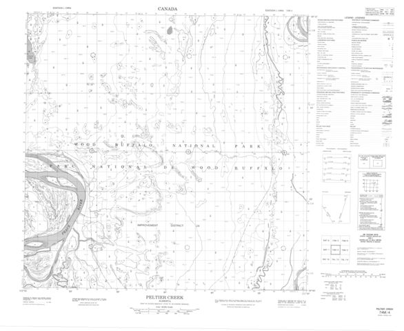 Peltier Creek Topographic Paper Map 074M04 at 1:50,000 scale