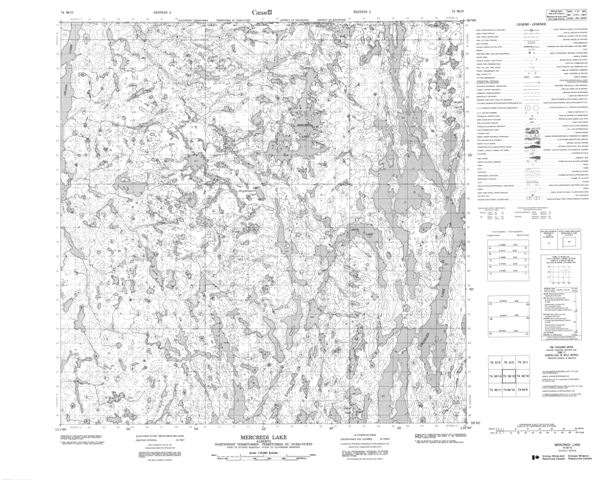 Mercredi Lake Topographic Paper Map 074M15 at 1:50,000 scale
