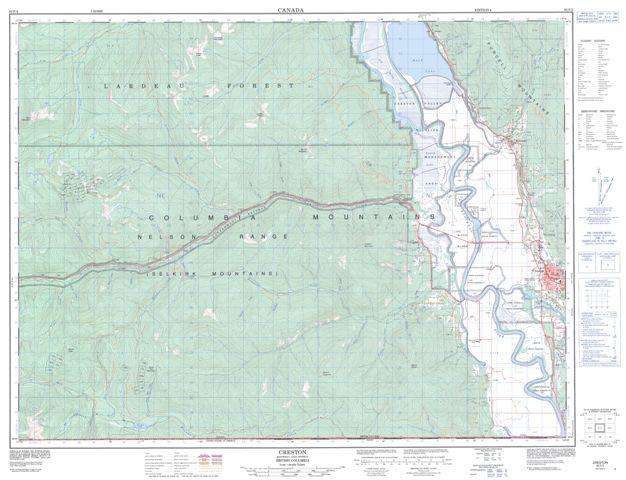 Creston Topographic map 082F02 at 1:50,000 Scale