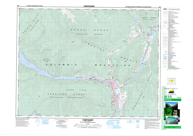Castlegar Topographic Paper Map 082F05 at 1:50,000 scale