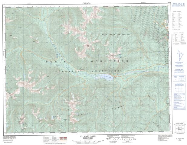 St Mary Lake Topographic Paper Map 082F09 at 1:50,000 scale