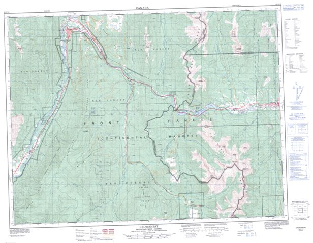 Crowsnest Topographic map 082G10 at 1:50,000 Scale