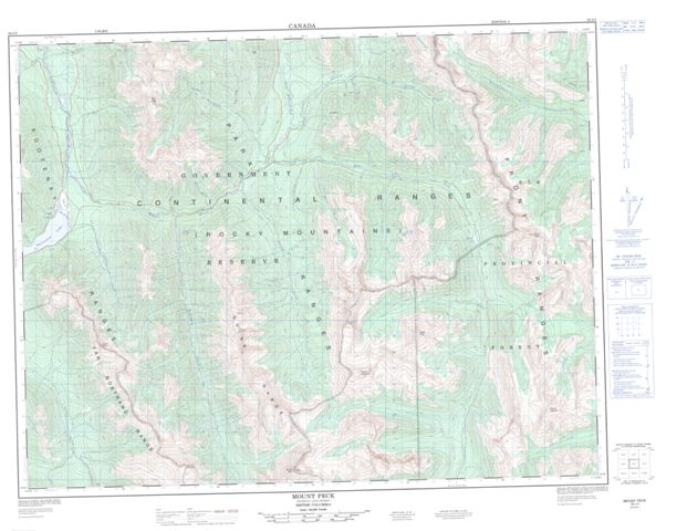 Mount Peck Topographic map 082J03 at 1:50,000 Scale