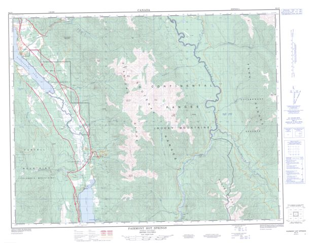 Fairmont Hot Springs Topographic map 082J05 at 1:50,000 Scale