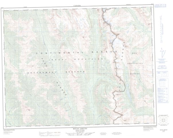 Mount Abruzzi Topographic map 082J06 at 1:50,000 Scale