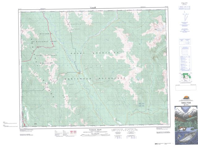 Tangle Peak Topographic map 082J12 at 1:50,000 Scale