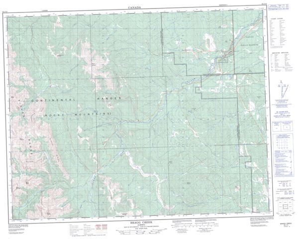 Bragg Creek Topographic Paper Map 082J15 at 1:50,000 scale