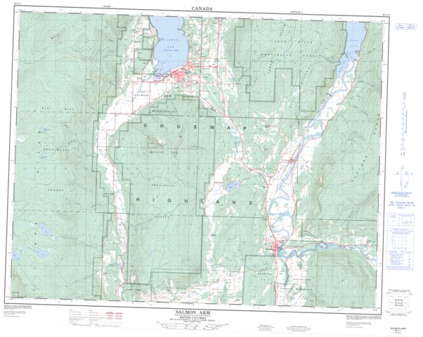 Salmon Arm Topographic Paper Map 082L11 at 1:50,000 scale