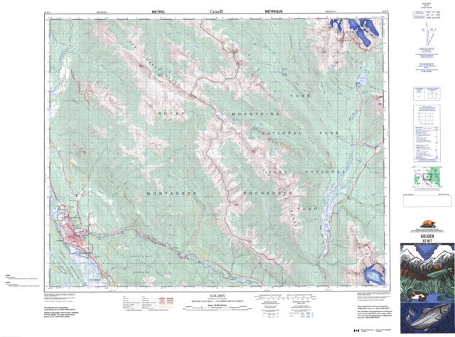 Golden Topographic map 082N07 at 1:50,000 Scale