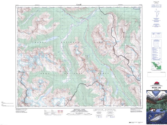 Mistaya Lake Topographic map 082N15 at 1:50,000 Scale