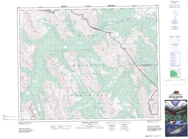 Barrier Mountain Topographic map 082O12 at 1:50,000 Scale