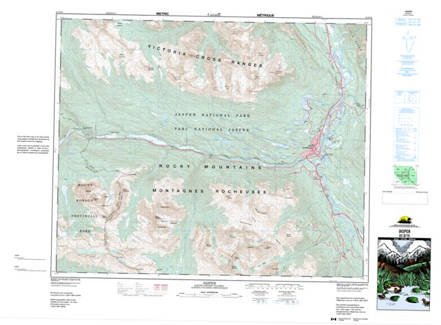 Jasper Topographic map 083D16 at 1:50,000 Scale