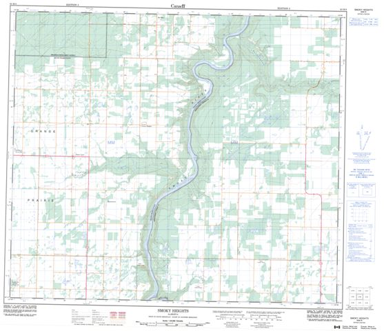 Smoky Heights Topographic map 083M08 at 1:50,000 Scale