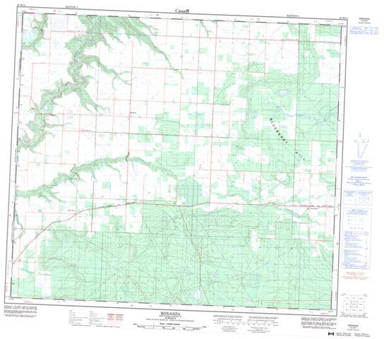 Bonanza Topographic Paper Map 083M13 at 1:50,000 scale